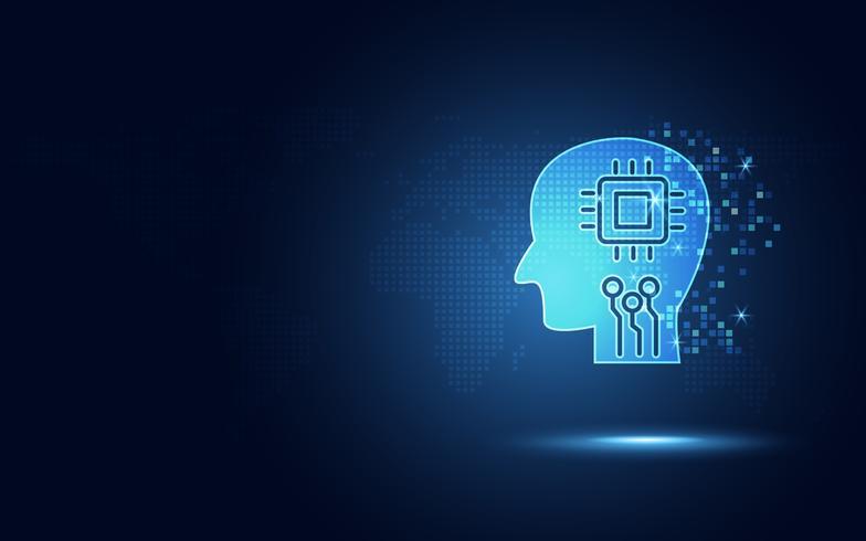 Circuit numérique humain bleu futuriste et micropuce dans le cerveau en intelligence artificielle ou en robotique pour l'IA. transformation de la technologie numérique abstrait. Autonomie et internet des objets vecteur