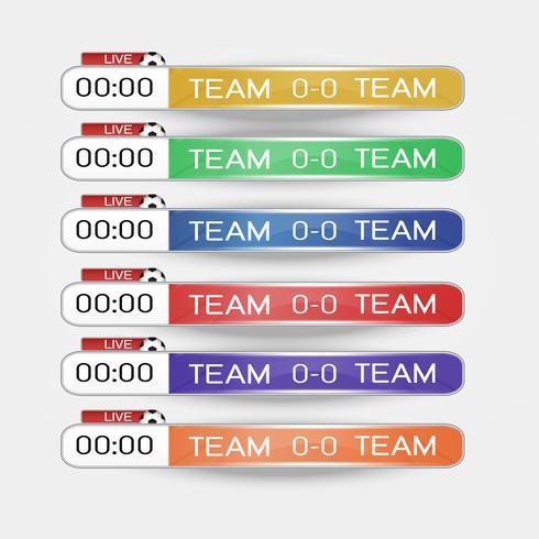 Tableau graphique en direct écran graphique modèle pour la diffusion de football, football ou futsal, modèle de conception illustration vectorielle pour match de la ligue de football Conception de fichiers vectoriels EPS10 vecteur