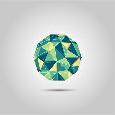 Icône de vecteur forme sphère mosiac polygone verte et jaune