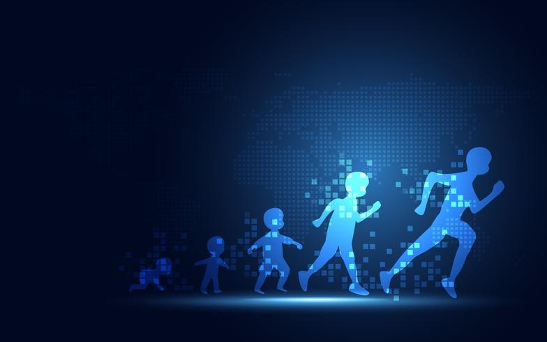 Evolution futuriste de la transformation numérique de personnes fond abstrait technologie. Intelligence artificielle et concept Big Data. Ordinateur et investissement en croissance. vecteur