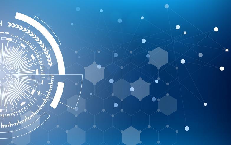 Cercle de la technologie bleue et abstrait de la science informatique avec la matrice de code bleu et binaire. Affaires et connexion. Concept futuriste et industrie 4.0. Thème Internet et réseau Internet. vecteur