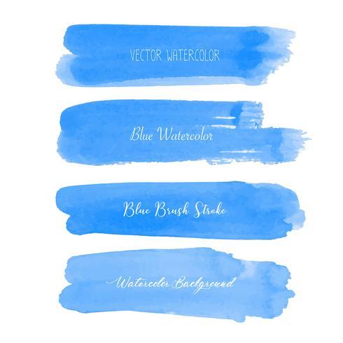 Aquarelle de pinceau bleu sur fond blanc. Illustration vectorielle vecteur