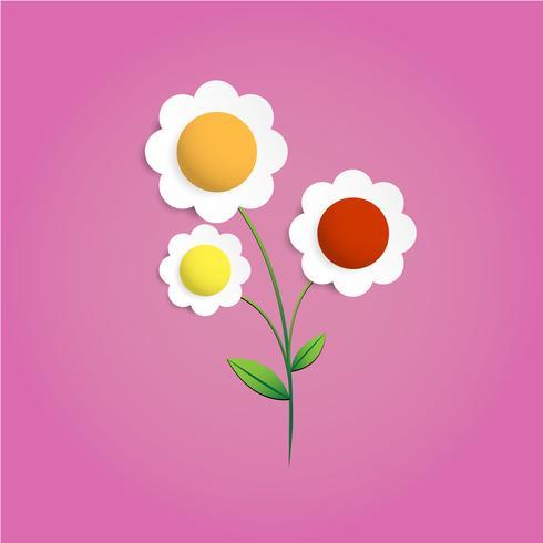 Vecteur de papercut fleur multicolores