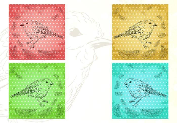 Paquet de papier peint aux oiseaux d'un paquet de plumes vecteur