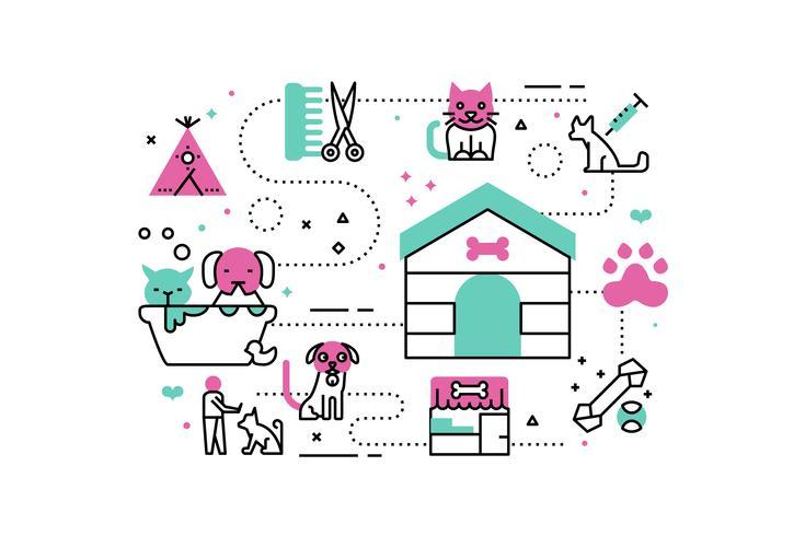 Illustrations du refuge pour animaux vecteur