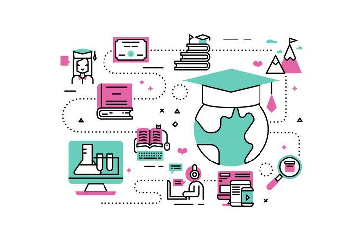 Illustrations de diplômes en ligne vecteur