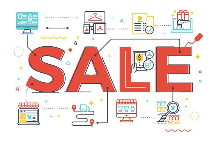 Illustration de lettrage du mot vente vecteur