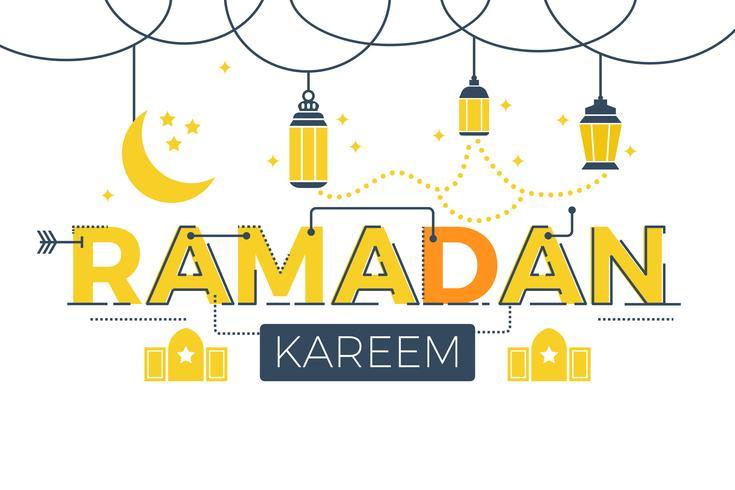 Mot ramadan kareem vecteur