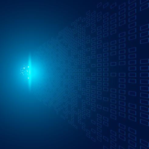 Modèle de points abstraits perspective de données de transfert futuriste sur fond bleu avec l'impact du concept de technologie d'explosion légère vecteur