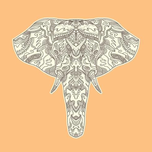 Illustration d'éléphant peinte. vecteur
