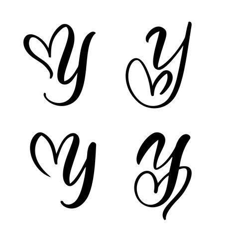Vecteur série de monogramme de lettre floral Vintage Y. élément de calligraphie Valentine s'épanouir. Signe de coeur dessiné à la main pour la décoration de la page et l'illustration de la conception. Carte de mariage d'amour pour invitation