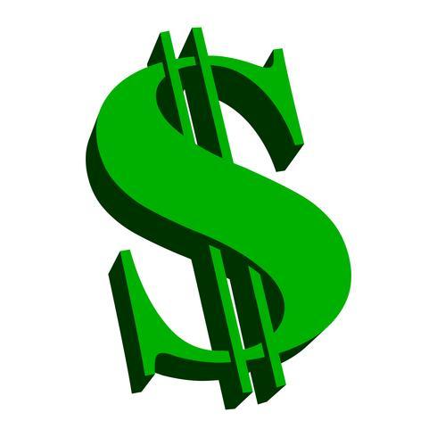 Vecteur de signe dollar vert