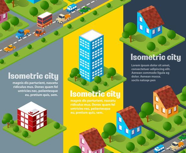 ensemble d'objets urbains isométriques vecteur