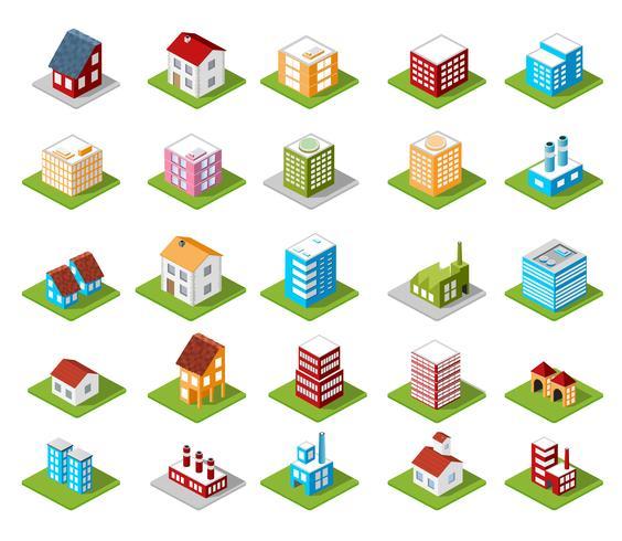 ensemble d'icônes maison isométrique vecteur