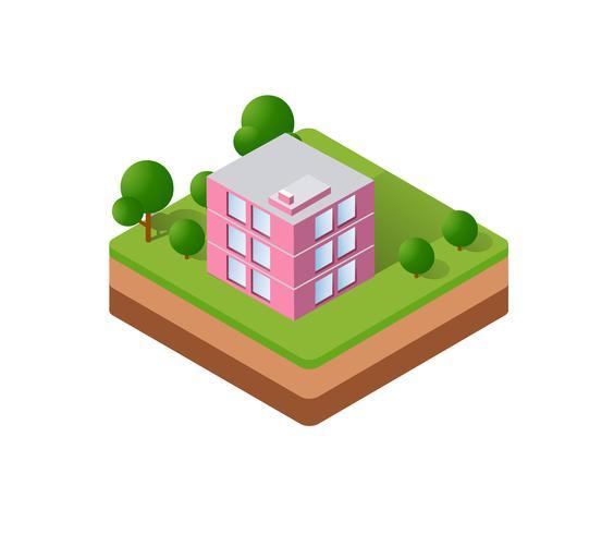 Maisons isométriques, ville vecteur