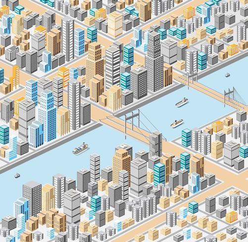 ville isométrique vecteur