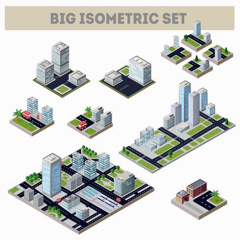 Un grand ensemble de ville isométrique vecteur