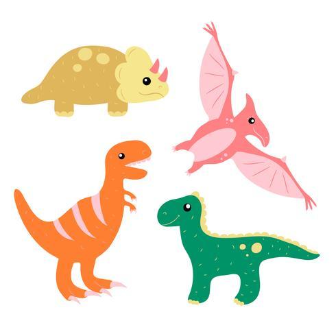 Ensemble de collection de dinosaures mignons dessinés à la main vecteur