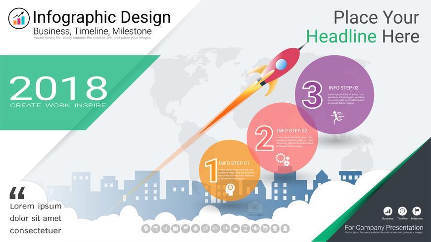 Modèle d'infographie d'entreprise, chronologie du jalon ou feuille de route avec options de l'organigramme de processus 3. vecteur