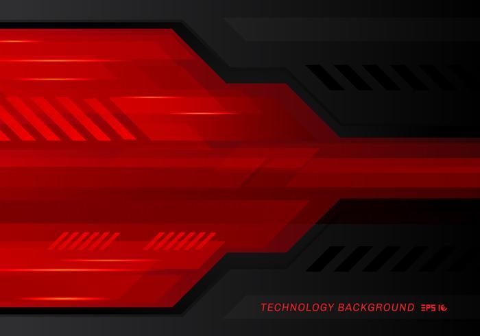 Technologie abstraite fond métallique innovation contraste rouge noir métallique. vecteur