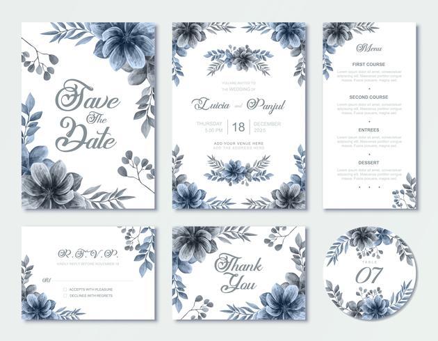 Set de modèles de cartes d'invitation de mariage bleu aquarelle fleurs vecteur