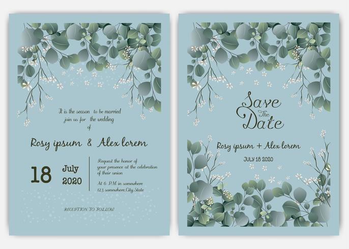 Invitation de mariage de verdure, invitation de mariage de modèle eucalyptus. vecteur