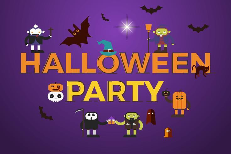 Conception de mot de fête d'Halloween vecteur