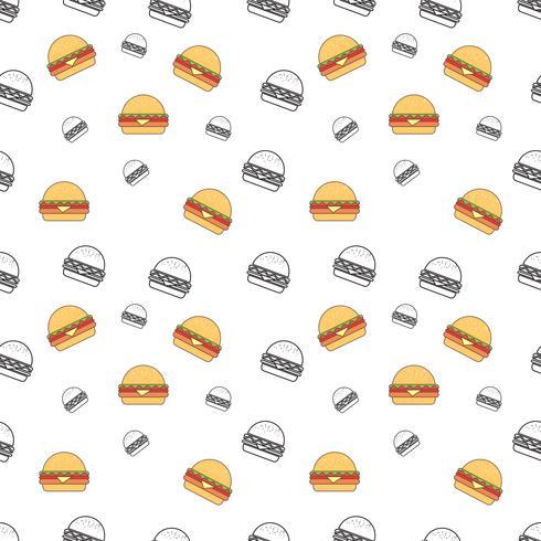 Modèle sans couture avec burger sur fond blanc. Texture répétée de vecteur. vecteur