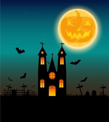Fond d'Halloween avec une batte volante et la pleine lune. Illustration vectorielle Affiche d'halloween heureux. vecteur