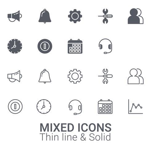 Ensemble d'icônes mixtes. Ligne mince et icône solide. vecteur