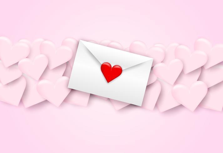 Heureuse Saint Valentin lettres d'amour, enveloppe blanche et coeur rouge sur fond rose, style art papier. Vecteur. vecteur