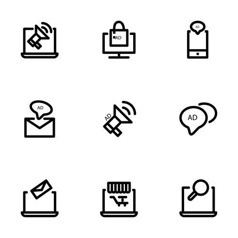 Ensemble simple de contour Digital marketing icônes minces pour le web. vecteur