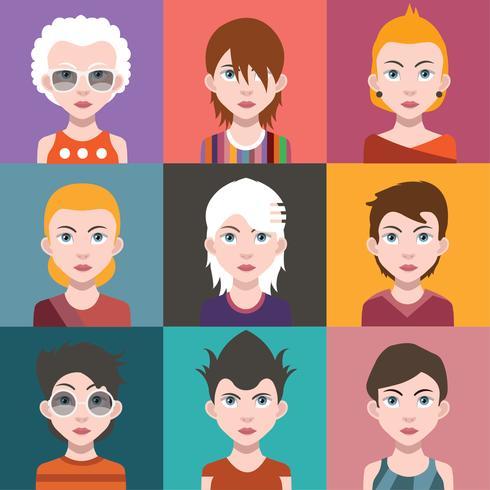 Ensemble d'avatars de personnes avec des arrière-plans vecteur