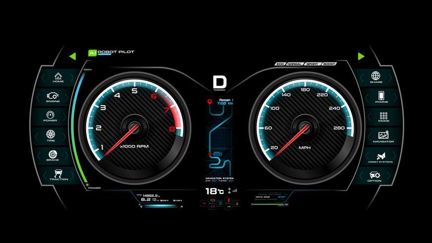Illustration vectorielle de voiture tableau de bord eps 10 007 vecteur