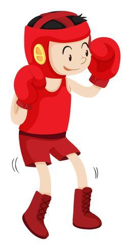 Boxer dans le coin rouge vecteur