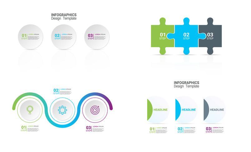 Modèle métier infographique avec 3 options. vecteur