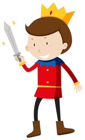 Prince avec une épée tranchante vecteur