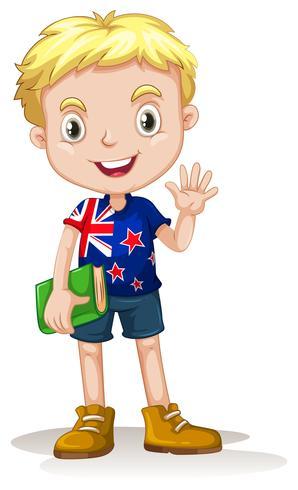Garçon néo-zélandais portant un livre vecteur