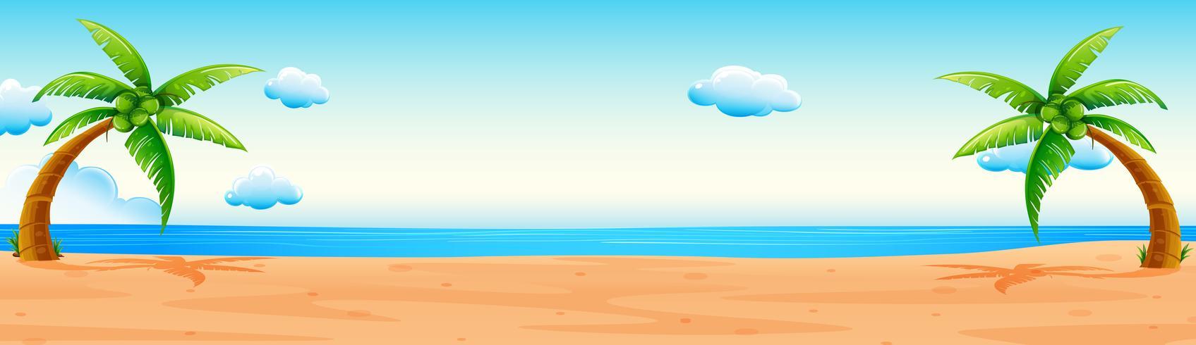 Scène avec plage et océan vecteur