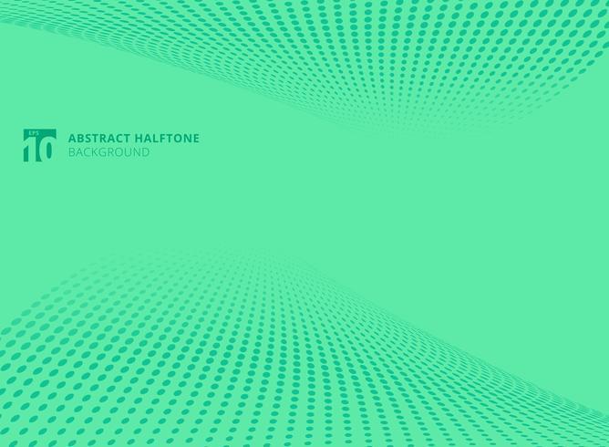 Modèle abstrait points fond de perspective de demi-teintes de couleur verte. vecteur