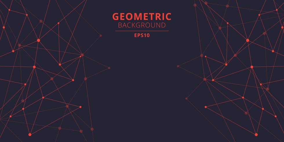 Triangles abstraits de technologie façonne la couleur rouge avec des points et des lignes de raccordement avec l'espace de la copie. Visualisation Big Data. Structure de connexion. vecteur