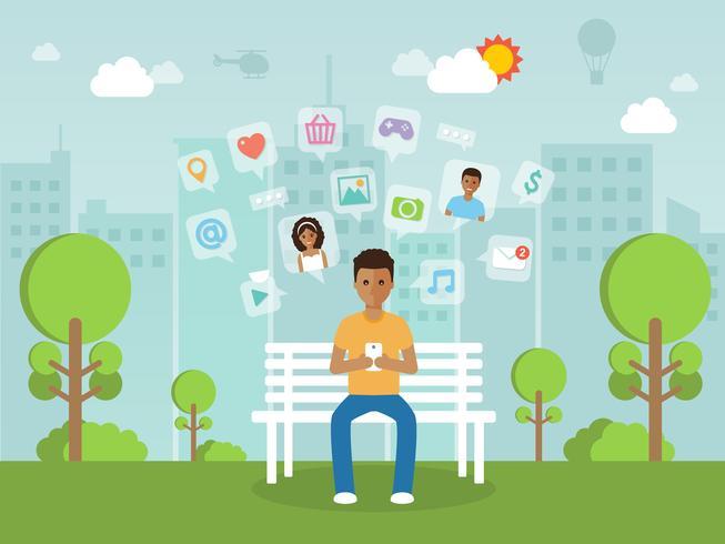 Jeune homme en ligne sur le réseau social avec smartphone. vecteur