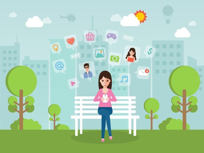 Jeune femme bavardant en ligne sur un réseau social avec smartphone. vecteur