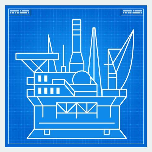 Schéma directeur de plate-forme pétrolière vecteur