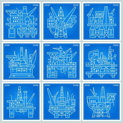 Plan des plateformes pétrolières vecteur