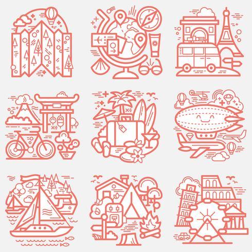 Set d'icônes de voyage vecteur