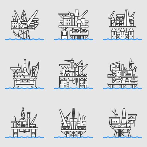 Plate-forme pétrolière offshore. vecteur