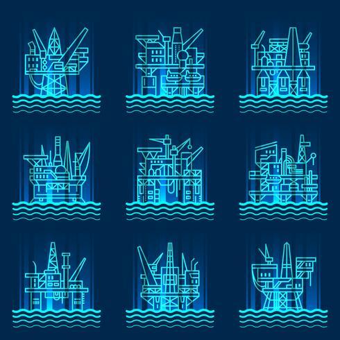 Ensemble d'icônes de plate-forme pétrolière. vecteur