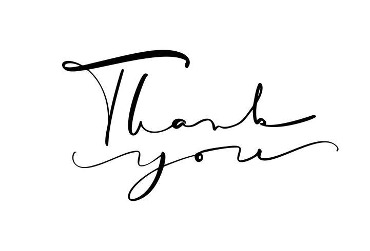 Lettrage de calligraphie Texte vectoriel Merci. Isolé sur fond blanc Main dessinée illustration vintage pour mariage, carte de voeux, tag