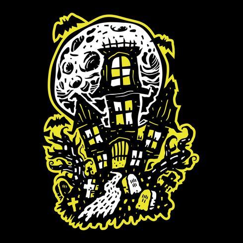 Maison hantée d'Halloween vecteur